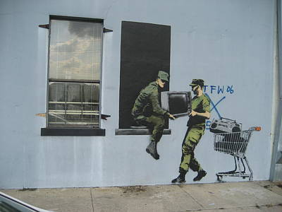 New Orleans Wall Art - Photograph - Banksy Looters In New Orleans by Arik Bennado
