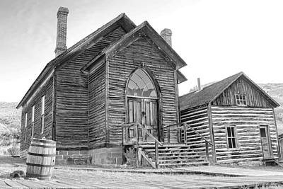 Photograph - Bannack Church Black And White by Sonya Lang