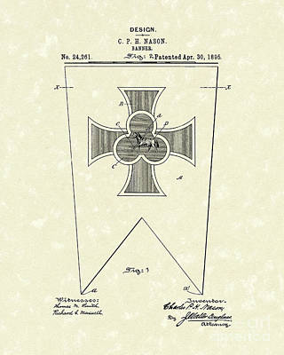 Drawing - Banner 1895 Patent Art by Prior Art Design