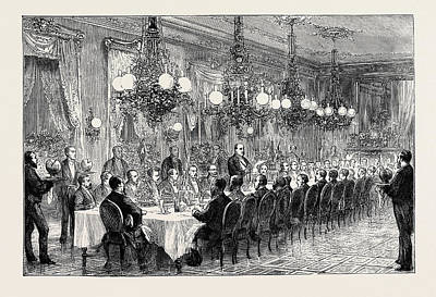 Alabama Drawing - Banquet Given To The Alabama Arbitrators By The Geneva by English School
