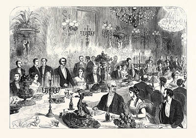 Banquet Drawing - Banquet Given To The Imperial Commissioners Of The Paris by French School