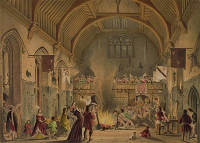 Medieval Drawing - Banquet In The Baronial Hall, Penshurst by Joseph Nash