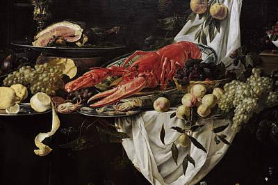 Gastronomy Photograph - Banquet Still Life, 1644, By Adriaen Van Utrecht 1599-165152 by Bridgeman Images
