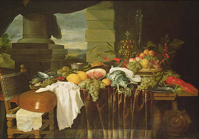 Lute Photograph - Banquet Still Life Oil On Canvas by Andries Benedetti