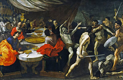 Banquet With A Gladiatorial Contest Art Print by Giovanni Lanfranco