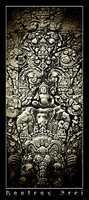 Photograph - Banteay Srei Carvings 2 Framed Version by Weston Westmoreland