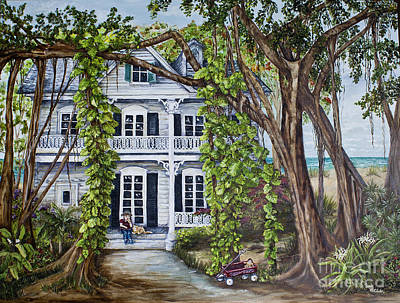 Philodendron Painting - Banyan Beach House by Janis Lee Colon