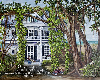 Philodendron Painting - Banyan Beach House Psalm 34 by Janis Lee Colon