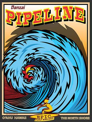 Banzai Pipeline Hawaii Surfing Art Print by Larry Butterworth