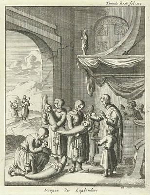 Baptism Drawing - Baptism Of Children In A Church In Lapland by Jan Luyken