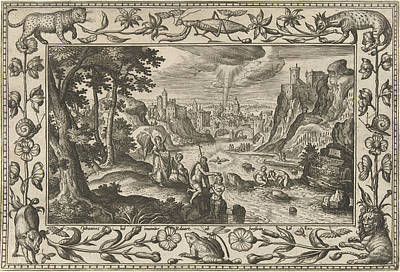 River Jordan Drawing - Baptism Of Christ, Adriaen Collaert, Eduwart Van Hoeswinckel by Adriaen Collaert And Eduwart Van Hoeswinckel