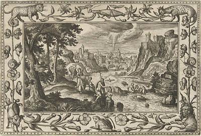 Jordan Drawing - Baptism Of Christ, Adriaen Collaert, Eduwart Van Hoeswinckel by Adriaen Collaert And Eduwart Van Hoeswinckel