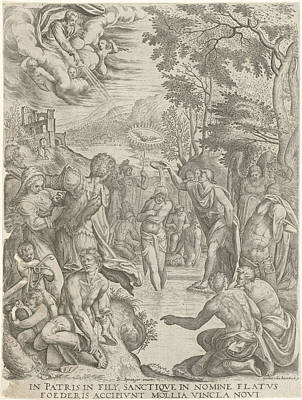 River Jordan Drawing - Baptism Of Christ, Egidius Horbeck by Egidius Horbeck