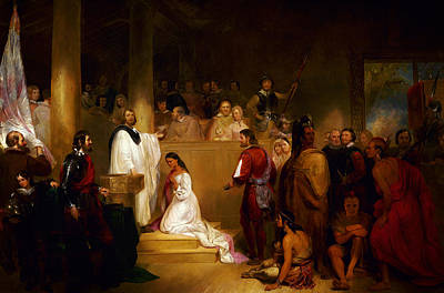 Baptism Painting - Baptism Of Pocahontas by Celestial Images