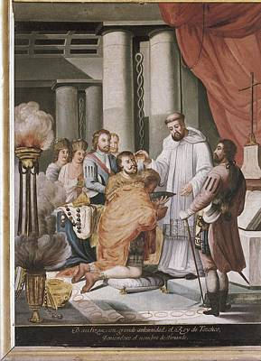 Baptizing Photograph - Baptism Of The King Of Texcoco by Everett