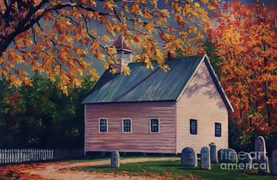 Maple Leaf Art Painting - Baptist Church  Cades Cove by John Clark