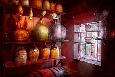 Big Wine Bottles Photograph - Bar - Bottles - Check Out These Big Jugs  by Mike Savad