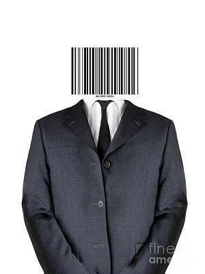 Economy Mixed Media - Bar Code Man by Shawn Hempel