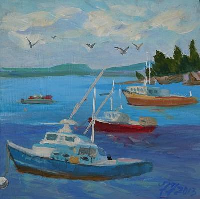 Painting - Bar Harbor Lobster Boats by Francine Frank