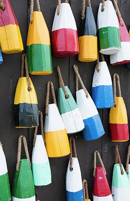 Buoys Photograph - Bar Harbor, Maine, Colorful Buoys by Bill Bachmann