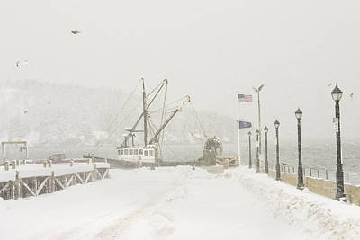 Bar Harbor Snowstorm And Fishing Boat Mount Desert Island Maine Art Print by Keith Webber Jr