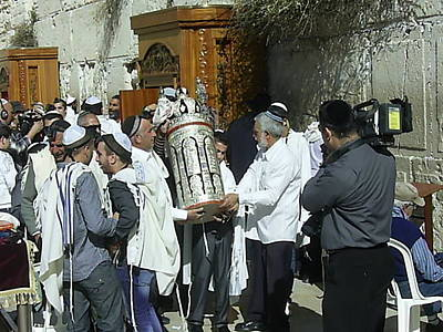 Photograph - Bar Mitzvah Boy Holding The Torah At The Kotel by Esther Newman-Cohen