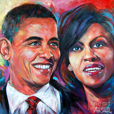 Obama Family Painting - Barack And Michelle Obama by Anju Saran