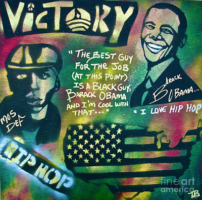 Barack And Mos Def Art Print by Tony B Conscious