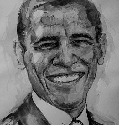 Barack Obama Painting - Barack In Bw by Laur Iduc