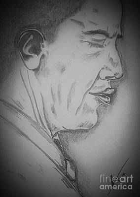 Politicians Drawings - Barack Obama by Collin A Clarke