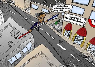 Editorial Cartoon Mixed Media - Barack Obama Daring Balancing Act by OptionsClick BlogArt