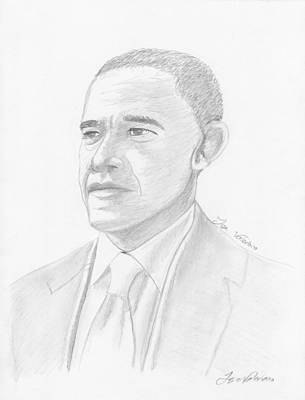Politicians Drawings - Barack Obama by M Valeriano