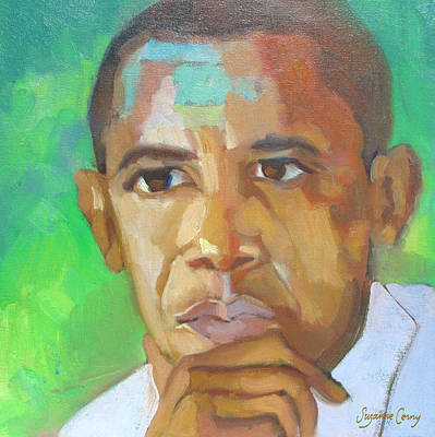Barack Obama Oil Painting - Barack Obama President Elect The Greening Of America by Suzanne Giuriati-Cerny