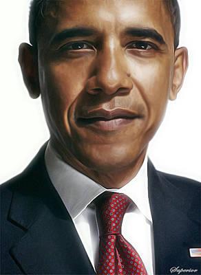 Whitehouse Digital Art - Barack Obama by Superior Designs