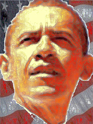 Digital Art - Barack Obama American President - Red White Blue by Peter Potter