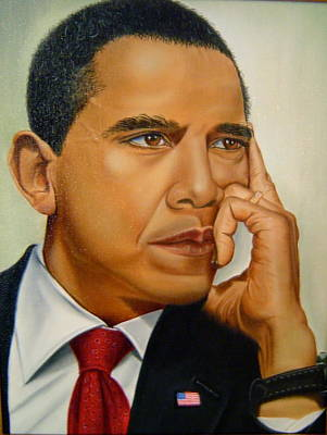 Michelle Obama Painting - Barak H. Obama by Yechiel Abramov