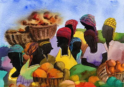 Painting - Barbados Market 1  Wi by Val Byrne