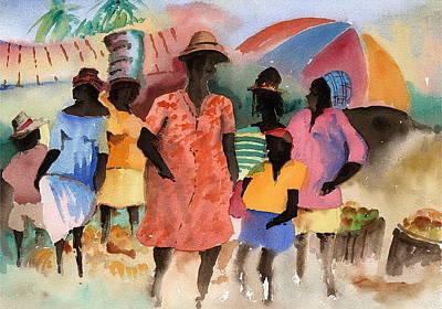 West Indies Painting - Barbados Market 2  Wi by Val Byrne