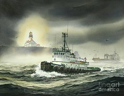 Tugboat Painting - Barbara Foss by James Williamson