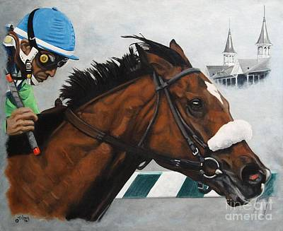 Painting - Barbaro Under The Twin Spires by Pat DeLong