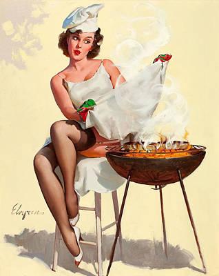 Barbecue Pin-up Girl Art Print