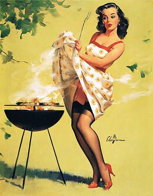 Barbecue Time - Retro Pinup Girl Art Print