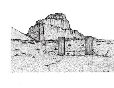 Southwest Landscape Drawing - Barbed Butte by DeeAnna Nevins