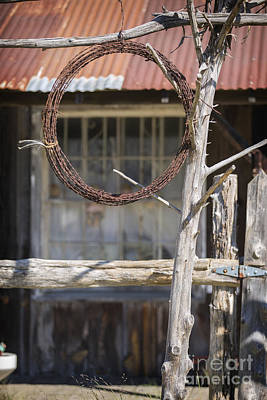 Photograph - Barbed Wire Hanging By Ranch House In Color 3006.02 by M K Miller