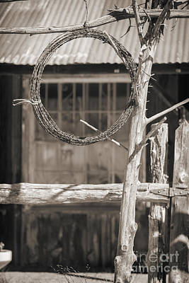 Photograph - Barbed Wire Hanging By Ranch House In Sepia 3006.01 by M K Miller