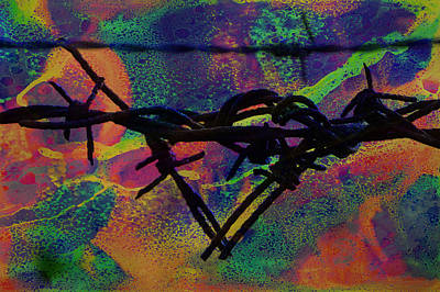 Raging Mixed Media - Barbed Wire Love-punch Drunk by Lesa Fine