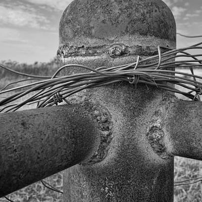 Photograph - Barbed Wire On Fence Post - Black And White Photography by Ann Powell