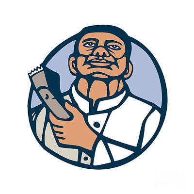 Linocut Digital Art - Barber Hair Clipper Scissors Circle Linocut by Aloysius Patrimonio