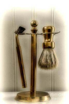 Hair Cutters Photograph - Barber Razor And Shaving Brush by Paul Ward