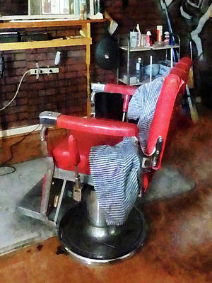 Barberchair Photograph - Barber - Red Barber Chair by Susan Savad